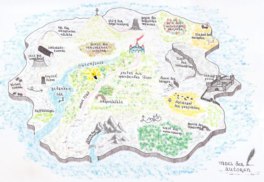 Selfpublishing - Vielfalt des Autorenlebens als Landkarte dargestellt